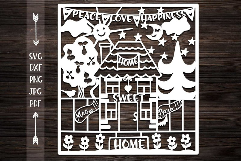 Free home sweet home svg, papercutting template, stencil