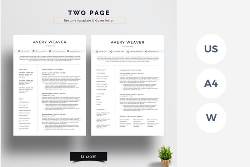 Minimal And Professional Resume Cv Template For Word Two Pages