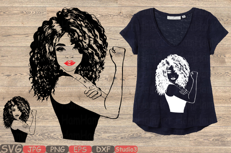 Girl Power Silhouette Svg Afro Youth Women Black Woman
