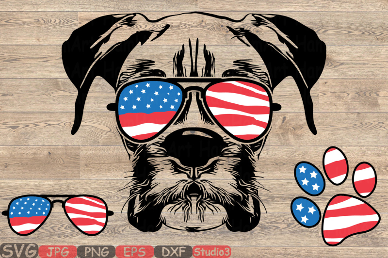 3f9837d38fbd Boxer Dog USA Flag Glasses Paw Silhouette SVG merica patriotic 868S By  HamHamArt