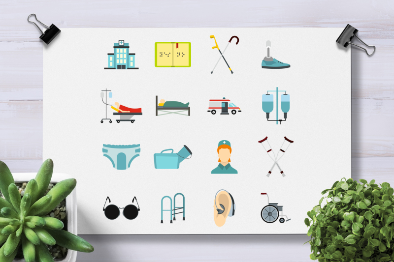 Disabled People Care Icons Set Flat Style By Ylivdesign