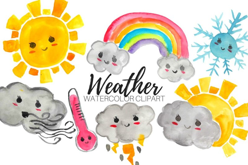 watercolor kawaii weather clipart by writelovely