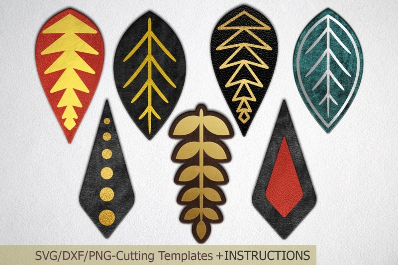 Free Teardrop faux leather earrings SVG DXF templates laser cut