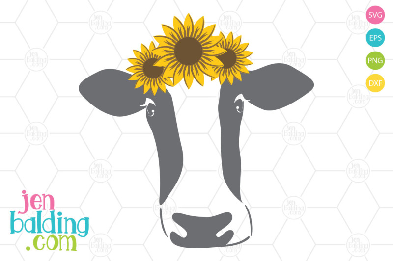 Free Cow With Sunflowers SVG Crafter File - Free SVG files