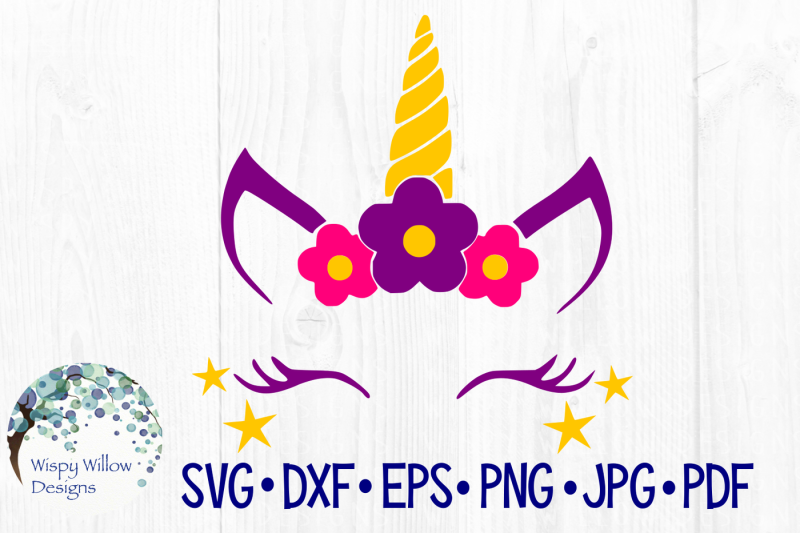 Girly Unicorn Face SVG/DXF/EPS/PNG/JPG/PDF By Wispy Willow ...