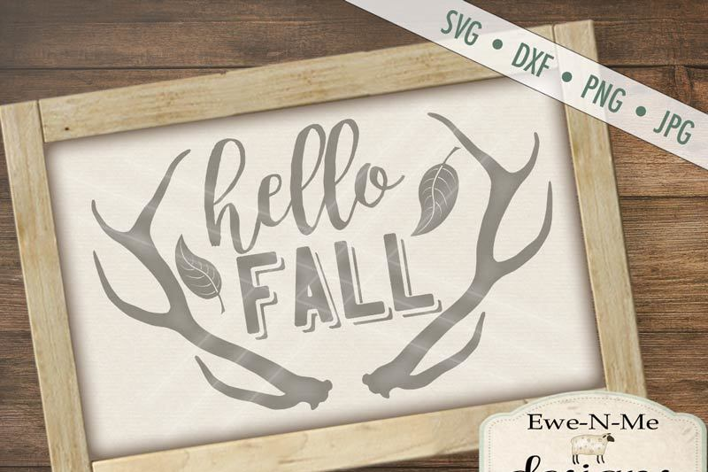 Hello Fall Antlers Svg By Ewe N Me Designs Thehungryjpeg Com