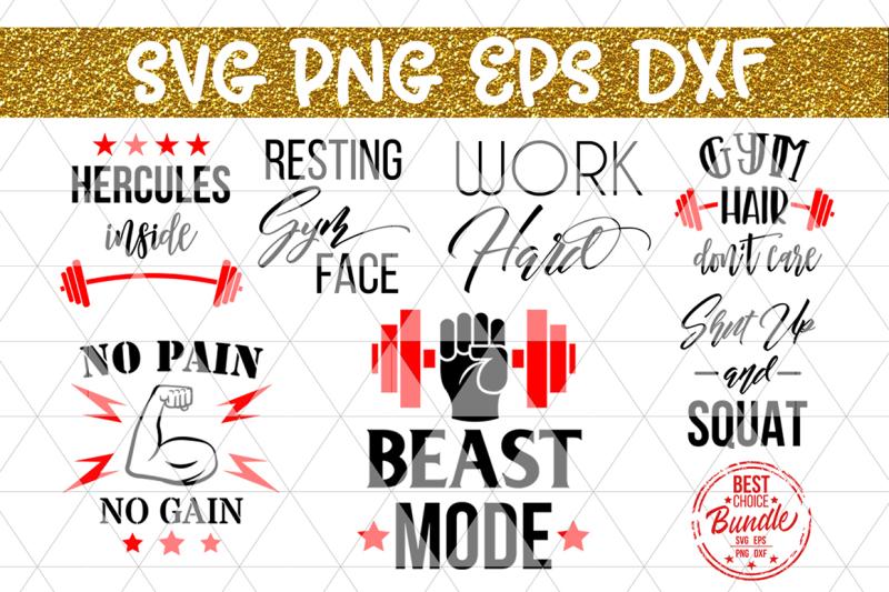 Gym Bundle Svg Cut Files Fitness Workout Sayings Dxf Png Eps Design Svg Cut File Free Download