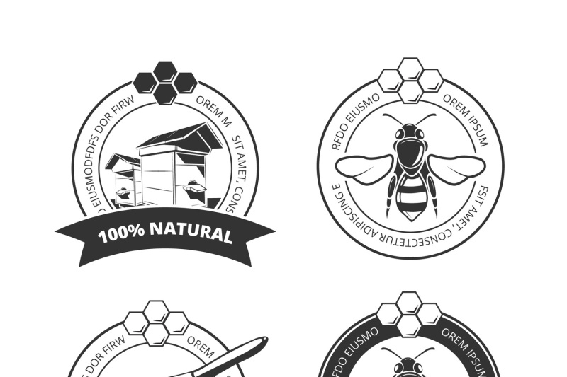 Vintage Honey And Bee Vector Labels Badges Emblems Logos Set By