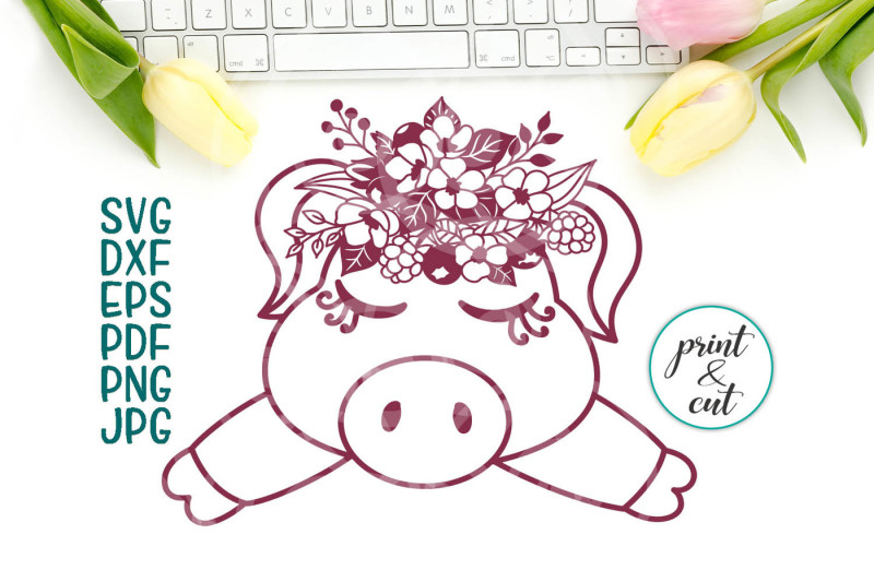 Free pig face svg file, baby pig with flowers paper cut template