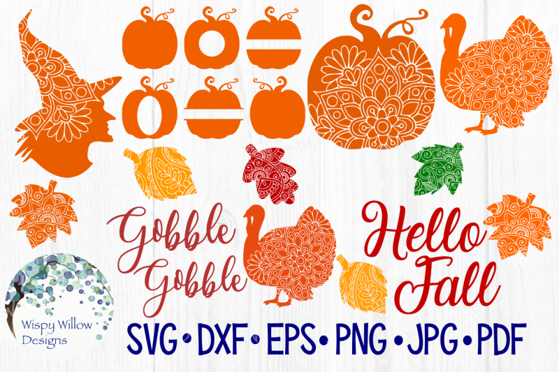 fall bundle  mandala  thanksgiving  halloween  svg  dxf  eps  png  jpg  pdf by wispy willow designs