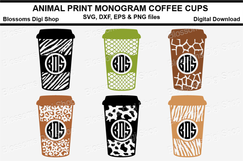 Free Animal Print Monogram Coffee Cups Crafter File Svg Free Icon Image