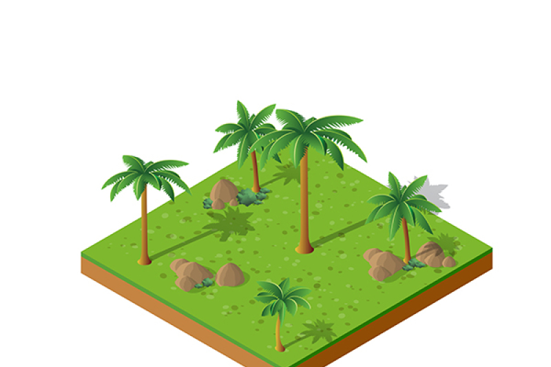 Isometric 3d Palm Park With Trees By Alexzel Thehungryjpeg Com