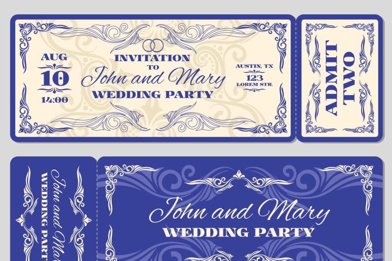 Vector Vintage Ticket Wedding Invitation By Microvector