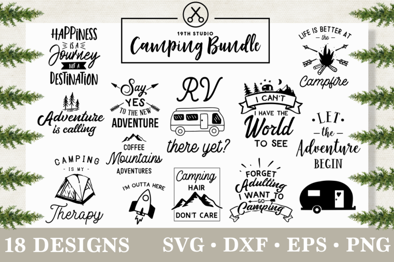 Camping Svg Bundle Svg Dxf Eps Png M3 By 19th Studio