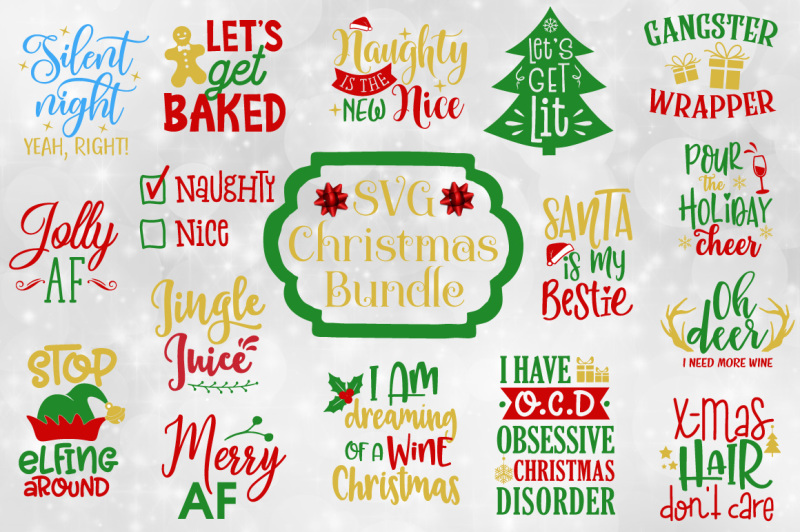 Christmas Quotes Svg.Funny Christmas Quotes Bundle Svg Eps Dxf Png Scalable