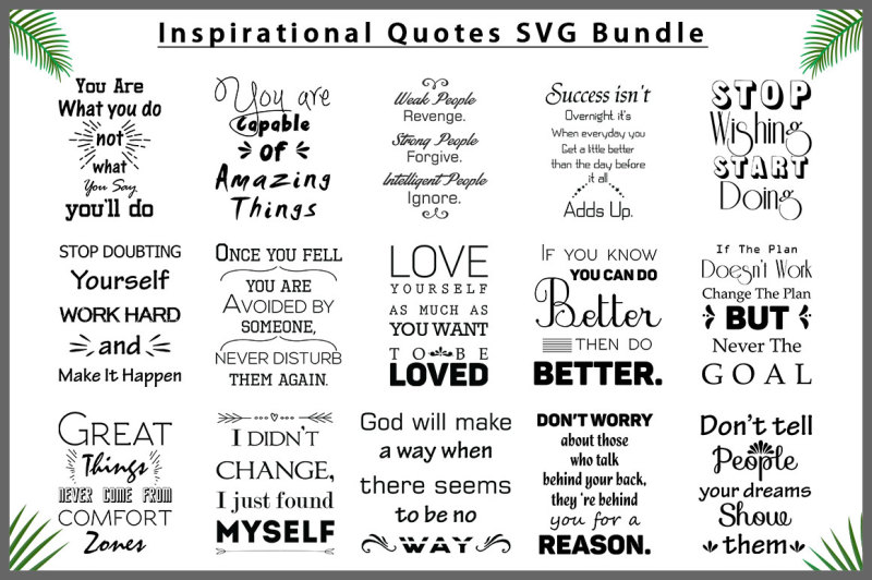 Free Inspirational Quotes Svg Bundle Svg Free Svg Cut Files Silhouette