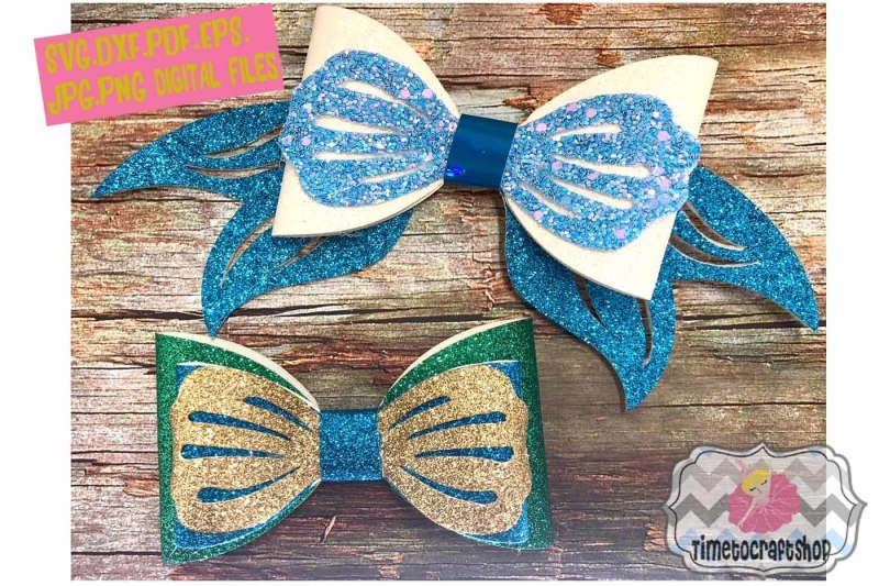 Mermaid Hair Bow Template Svg Dxf Pdf Eps Jpg Png By