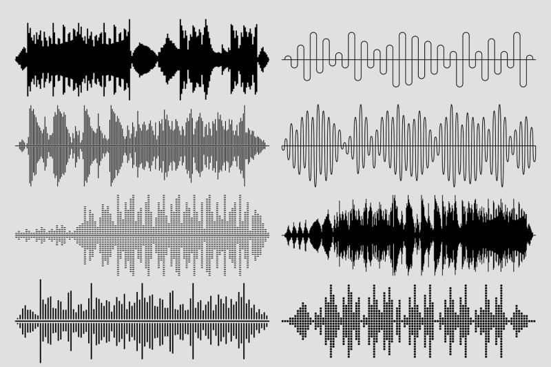 Sound music waves vector set. Musical pulse or audio ...