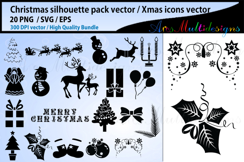 Free X Mas Svg Silhouettes Christmas Svg Silhouette Bundle Xmas Icon Crafter File Free Svg Cuts