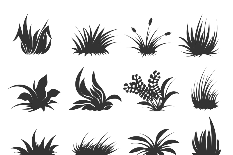 grass and lawn vector silhouettes by microvector thehungryjpeg com grass and lawn vector silhouettes by