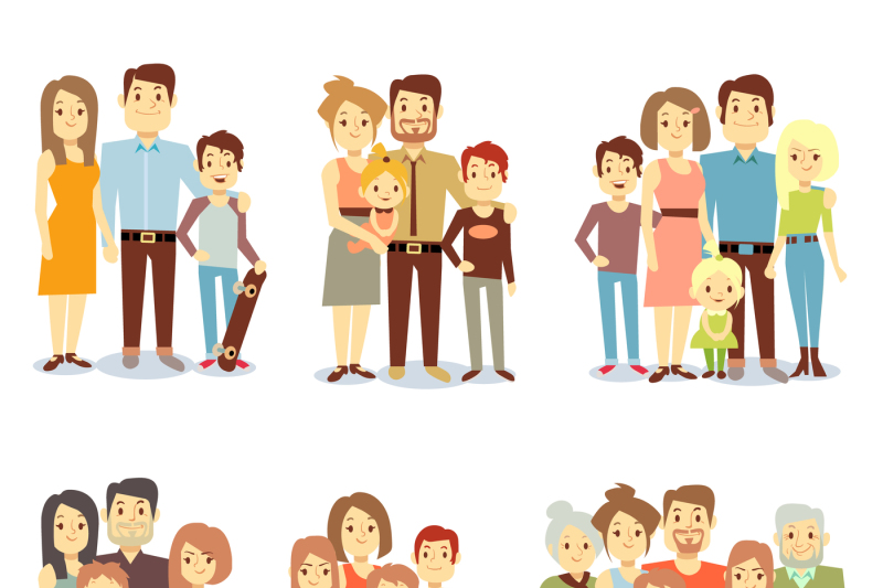 Families Different Types Flat Vector Icons Set By Microvector