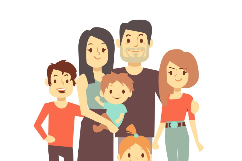 Cute Cartoon Family Vector Characters In Casual Clothes By Microvector Thehungryjpeg Com Awesome cartoon for kids and children with cats family. cute cartoon family vector characters