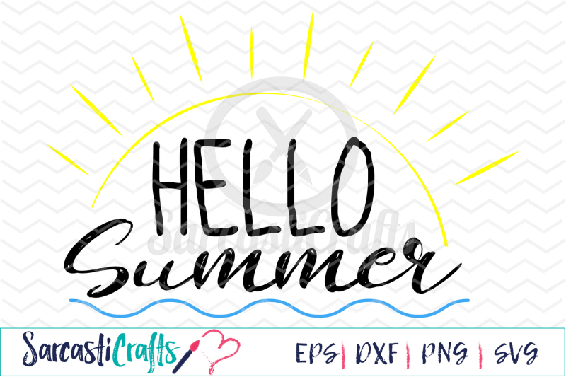 Free Hello Summer - EPS SVG DXF PNG Crafter File - Free