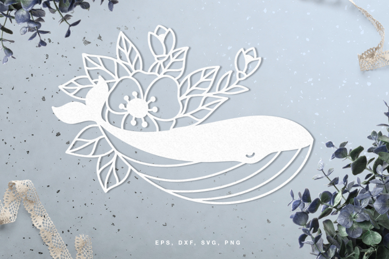 Floral Whale Digital Cut File Svg Dxf Png Eps Design Svg Files Design Fonts