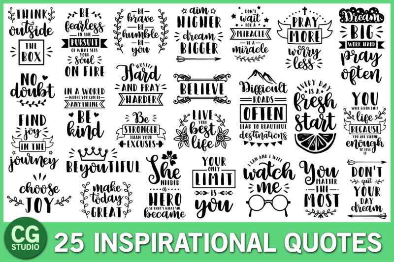 Free Inspirational quotes SVG Bundle Crafter File - Free SVG ...