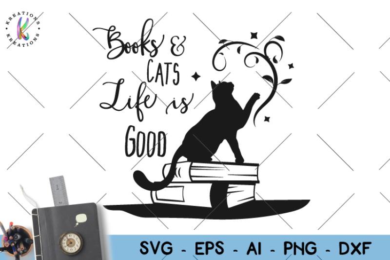 Books Svg Books And Cats Svg By Kreationskreations Thehungryjpeg Com