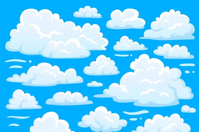 White cloud symbol for cloudscape background  Cartoon clouds
