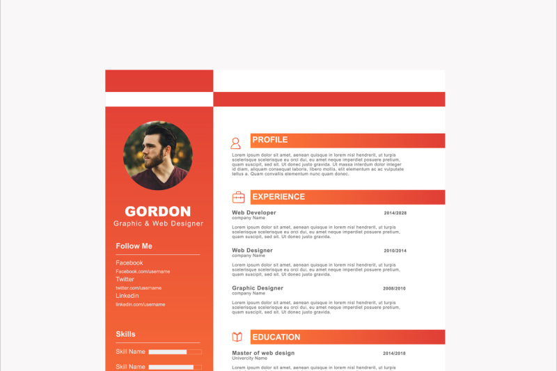 Colorful Resume Template By CreativeDesign