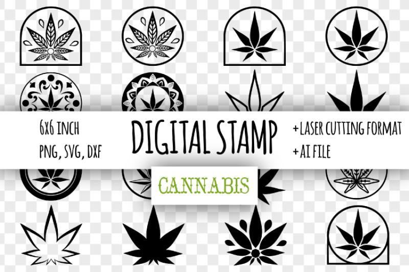 Cannabis Digital Stamp Marijuana Leaf Clipart Svg Scalable Vector Graphics Design Free Download Svg Files Spring
