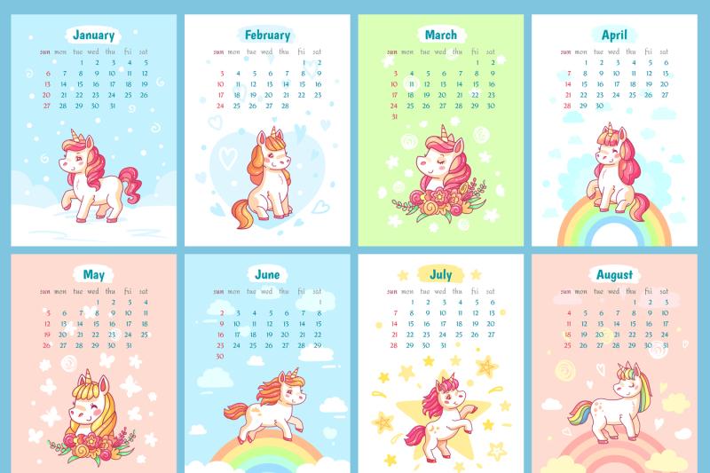 Sweet cute magic unicorn 2019 calendar for kids. Fairy ...