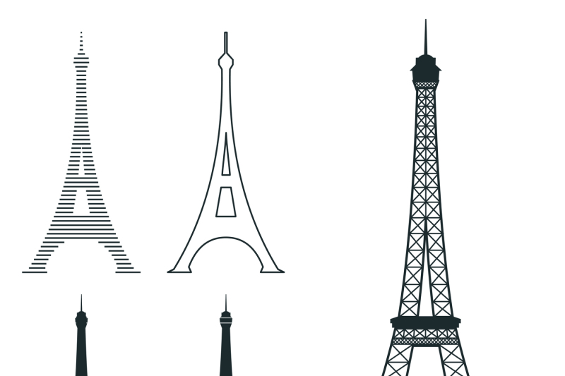 Different Eiffel Tower Vector Landmark Set By Microvector