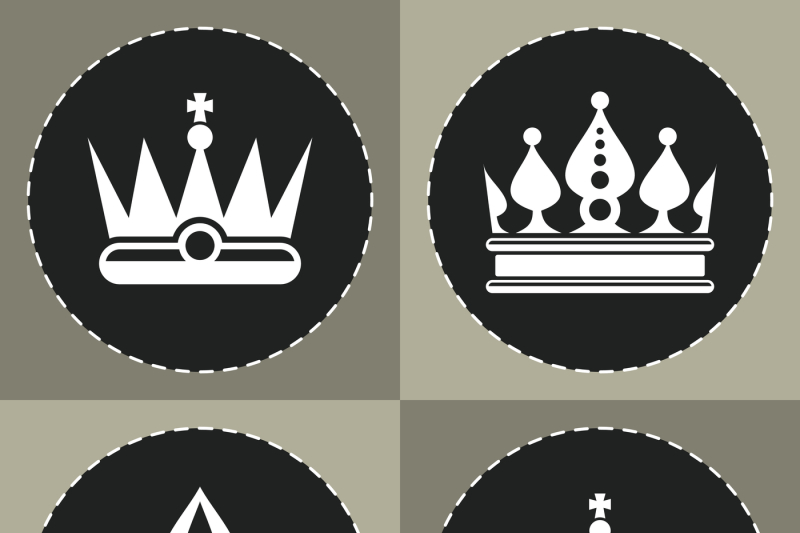 White Crown Icons On Black Background For Chess By Microvector