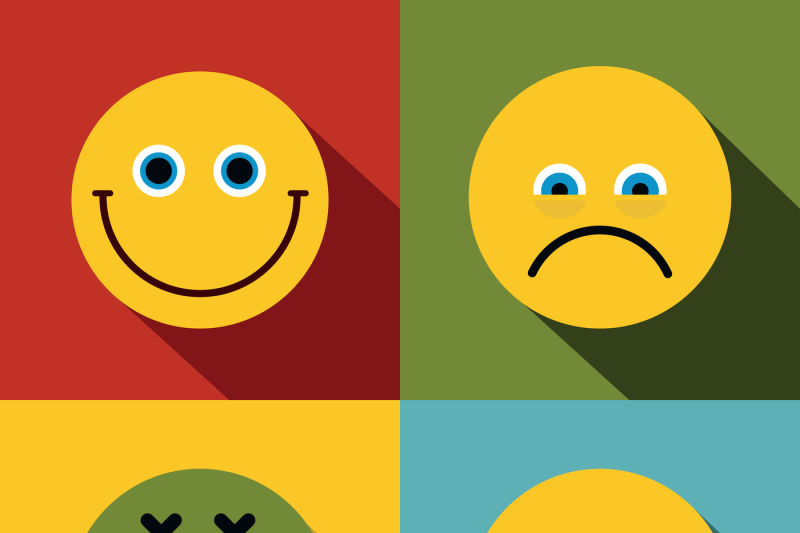 Emoji Emoticons Icons In Flat Style On Color Background By