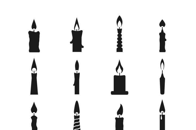 Birthday Candle Black Vector Icons Isolated On White By