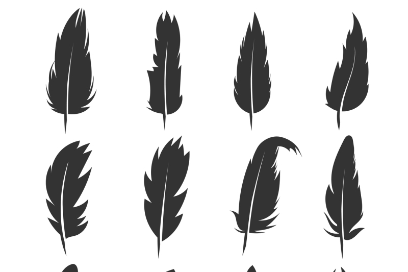 Feather Antique Pen Black Vector Icons Isolated On White
