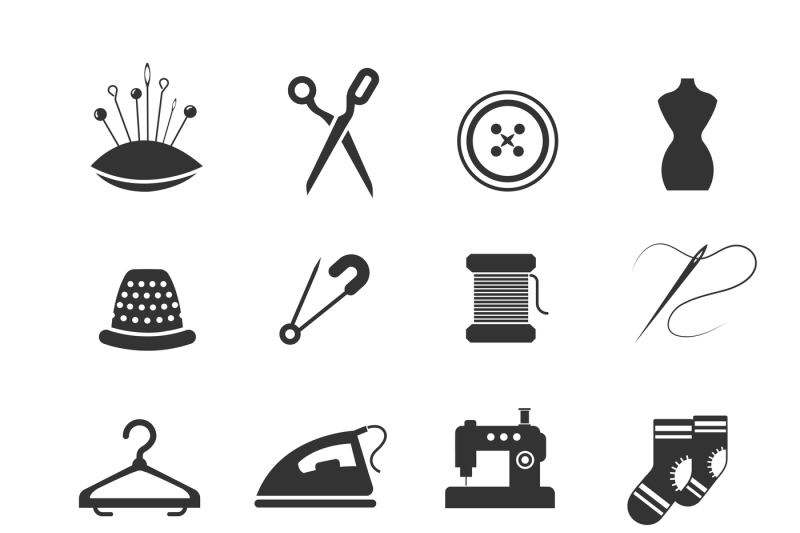 Sewing fashion needlework tailor vector icons By Microvector