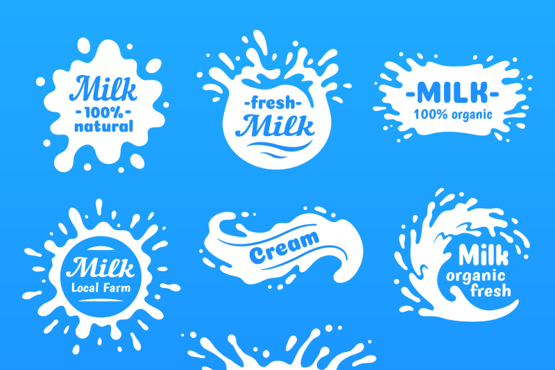 Cow milk splashes with letters  Isolated milks splash for health