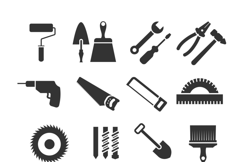 Construction tools vector black icons set By Microvector