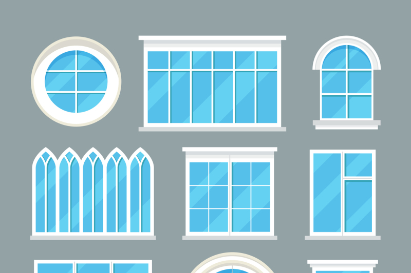 Gl Home Windows Types Vector Flat Icons By Microvector Thehungryjpeg