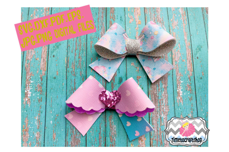 3d hair bow template  scallop hair bow svg  dxf  pdf  eps