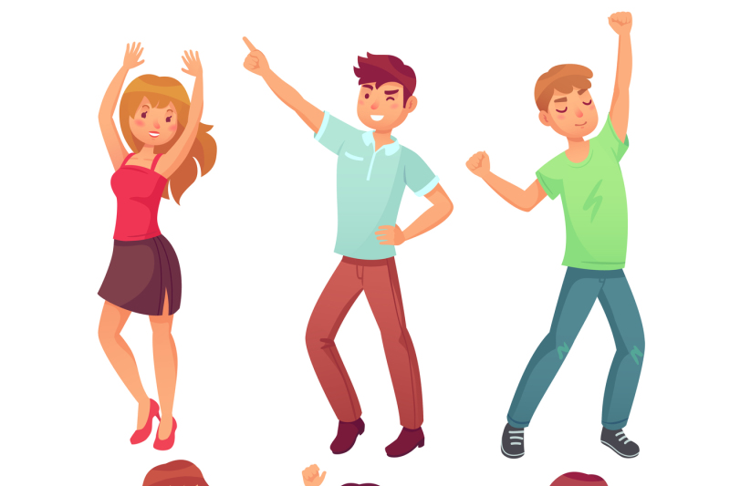 Cartoon Dancing People Happy Dance Of Excited Teenager Young Women M By Tartila Thehungryjpeg Com