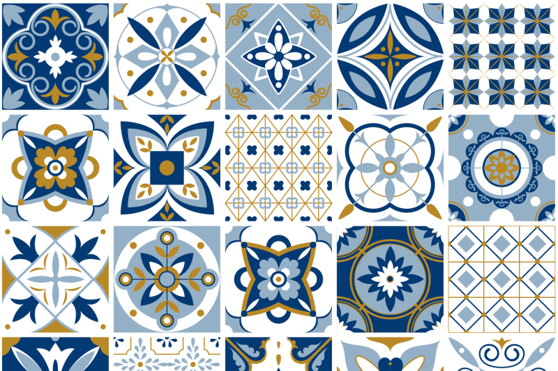 moroccan pattern  decor tile texture with blue ornament