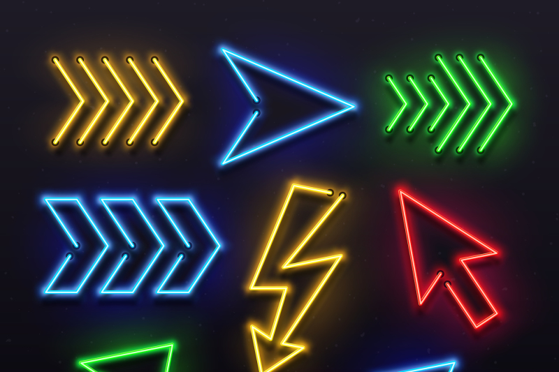 realistic neon arrows  night arrow sign lamp lights  shining arrowhead by tartila