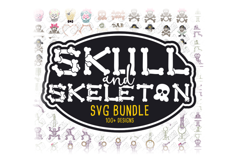 Free Skull Skeleton Svg Bundle Monogram In Svg Dxf Png Eps Jpeg Crafter File Free And Premium Vector Icons Svg Png