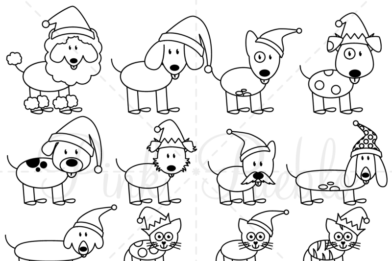 Christmas Stick Figure Pets Clipart And Vectors By Devon Carlson