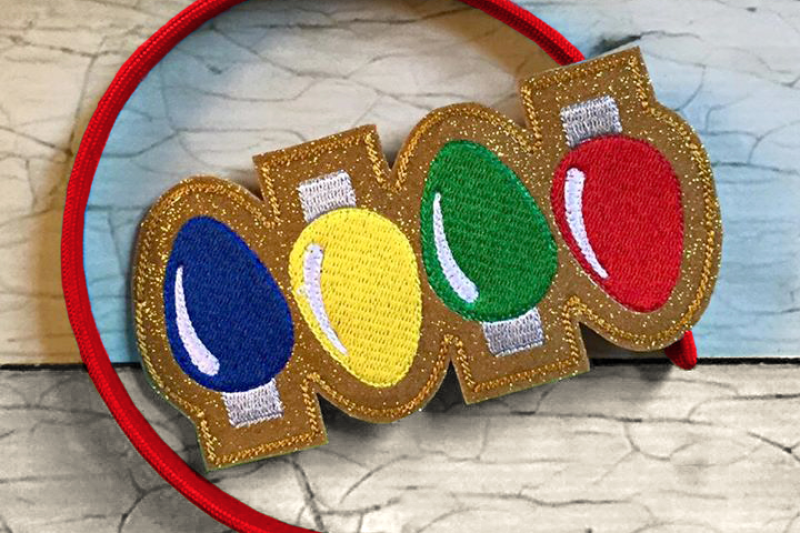 4 Christmas Lights Ith Headband Slider Applique Embroidery By